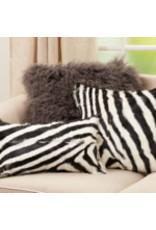 "Zebra Goat Fur Pillow Blk & Wht 12""x20"" - 4657.BW1220B"