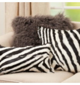 "Zebra Goat Fur Pillow Blk & Wht 18"" Square - 4657.BW18S"