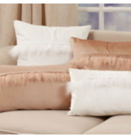 "Velvet Faux Fur Pillow White 12""x20"" - 9116.W1220BP"