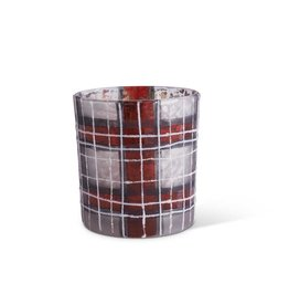 Plaid votive- red/black/white 3 in