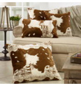 "Faux Fur Cow Hide Pillow 22"" Sq - 471.BR225"