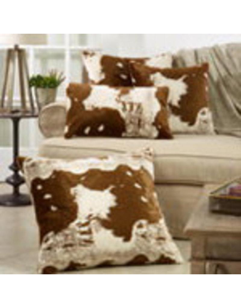 """Faux Fur Cow Hide Pillow 22"""" Sq - 471.BR225"""
