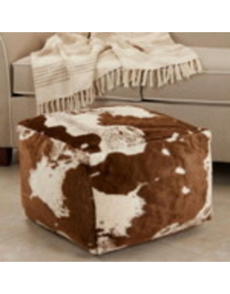 Faux Fur Cow Hide Pouf - PU471.BR