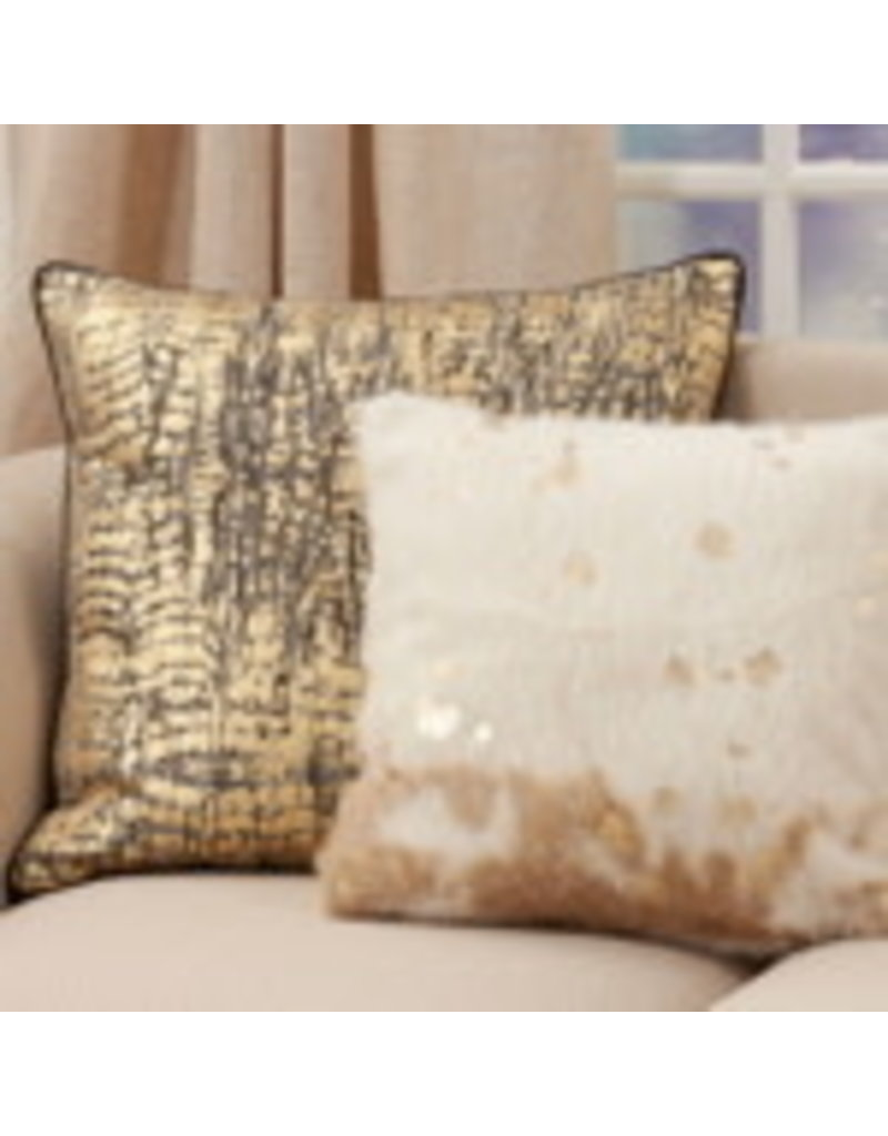 "Foil Print Faux Cow Hide Pillow 22"" Sq - 1044.I18SP"