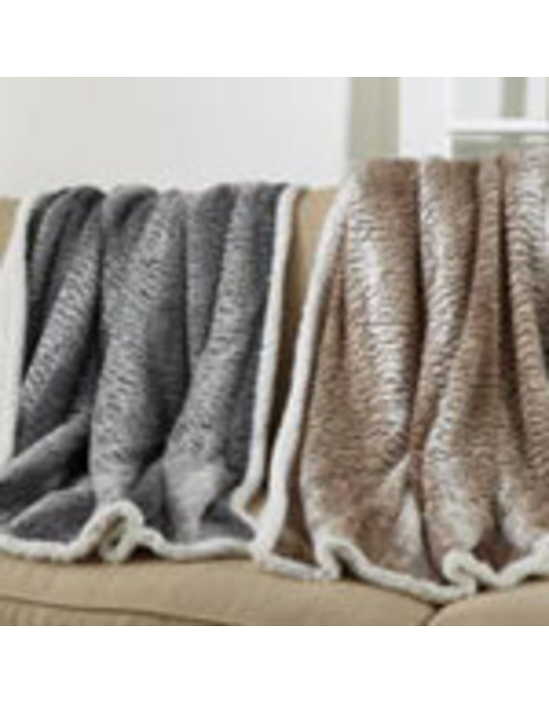 "Faux Fur Sherpa Throw Grey 50"" x 60"" - TH640.GY5060"