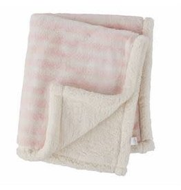 Faux Fur Pink Striped Blanket - 11000137P