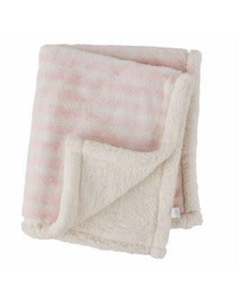 Faux Fur Pink Striped Blanket - 11000137P