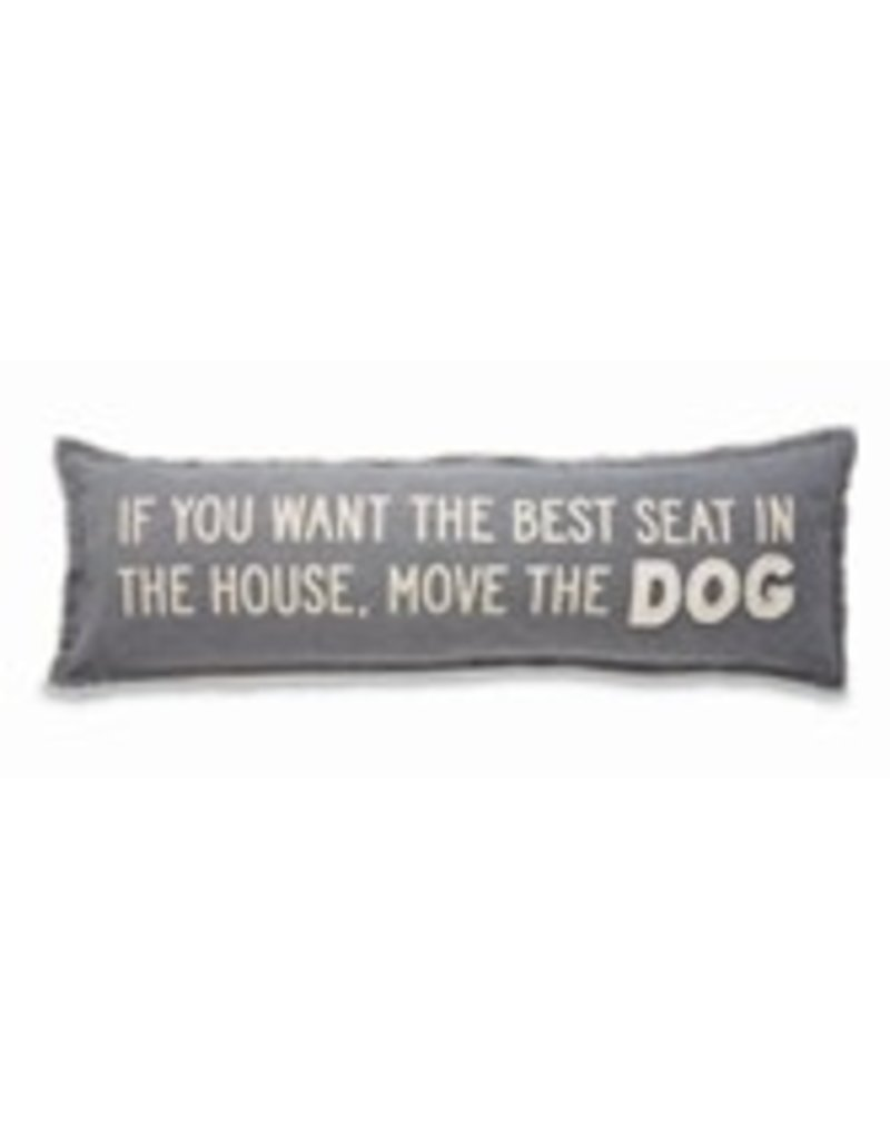 "none Washed Canvas Long Pillow - Move the Dog 11""x35"" - 41600064M"