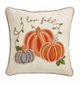 "Embroidered Square Pumpkin Pillow 18""x18"" - 41600402S"