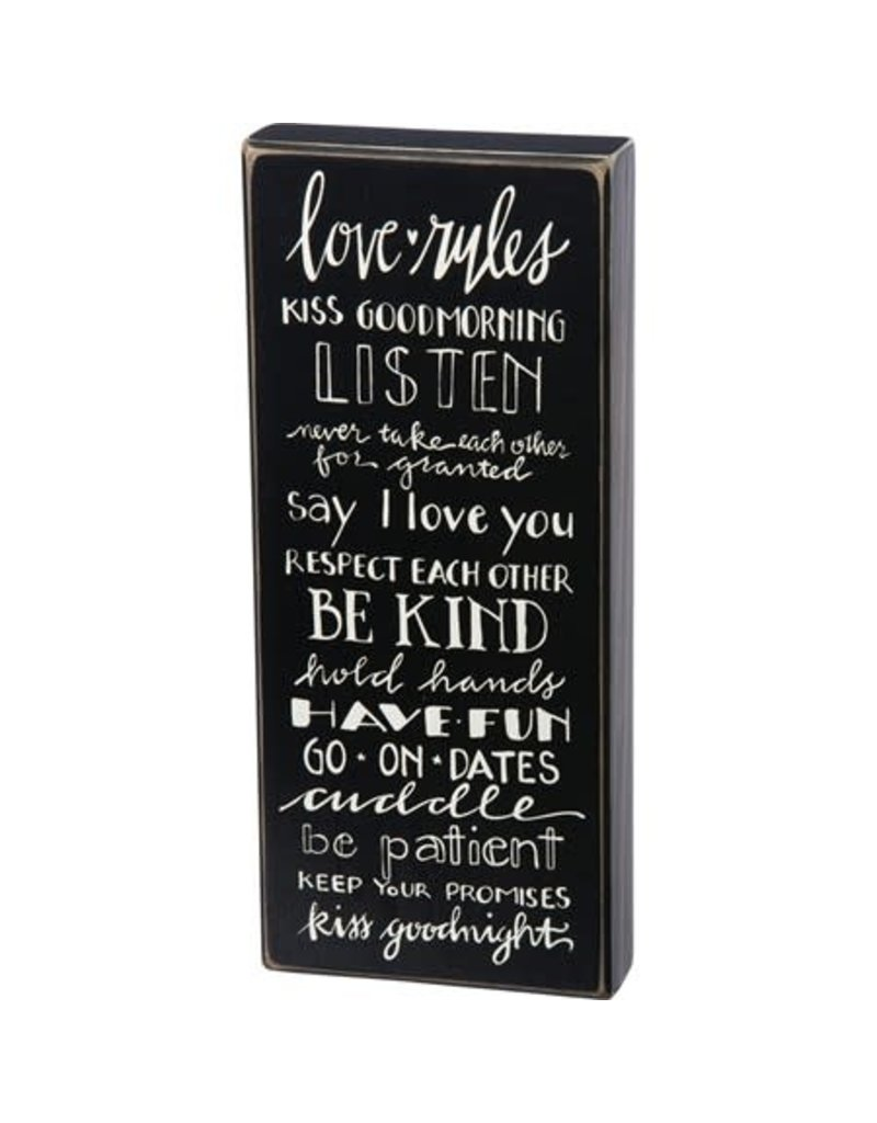 Box Sign - Love Rules 26017