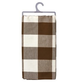 dish towel brown buff check 106505