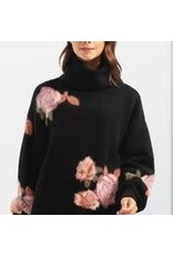 CHARLIE B Printed flowers turtleneck sweater