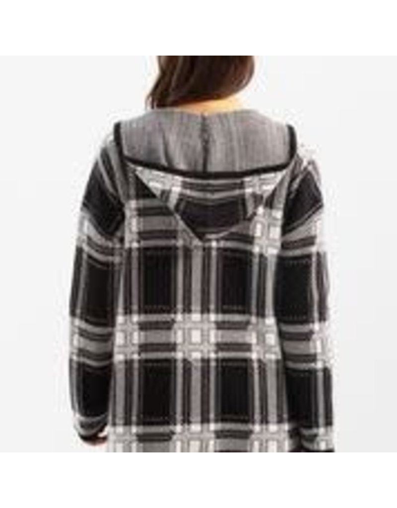 CHARLIE B Color Block cardigan with hood- pepper