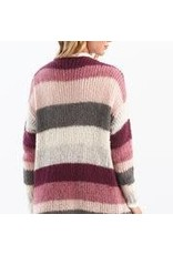CHARLIE B Rosewood striped cardigan with pockets