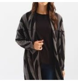CHARLIE B Zebra long cardigan with patch pockets