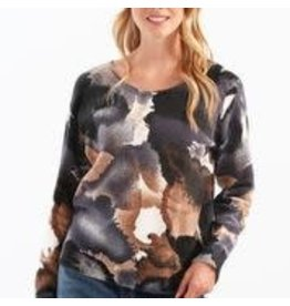CHARLIE B Mocha reversable printed sweater