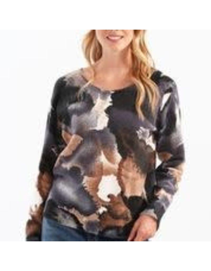 CHARLIE B Mocha reversable printed sweater