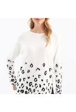CHARLIE B Animal print plush yarn sweater