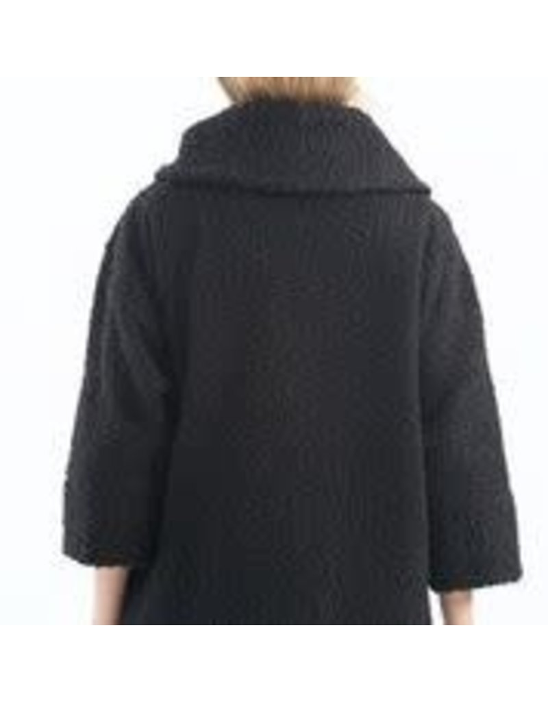 CHARLIE B Black Boucle knit tailored collar coat