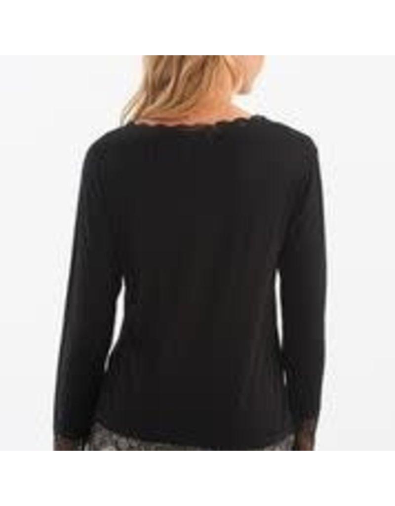 CHARLIE B Lace hem black top