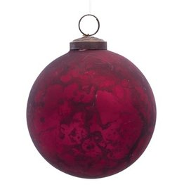 "Red glass ornament 4.5"" 80182"