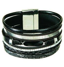 Black Stone Magnetic Cuff Bracelet MB11