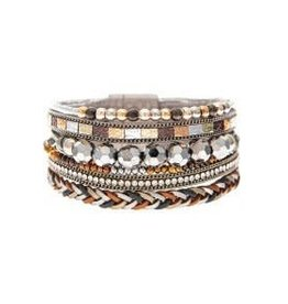 Bead Braid Strip Magnetic Bracelet MB163