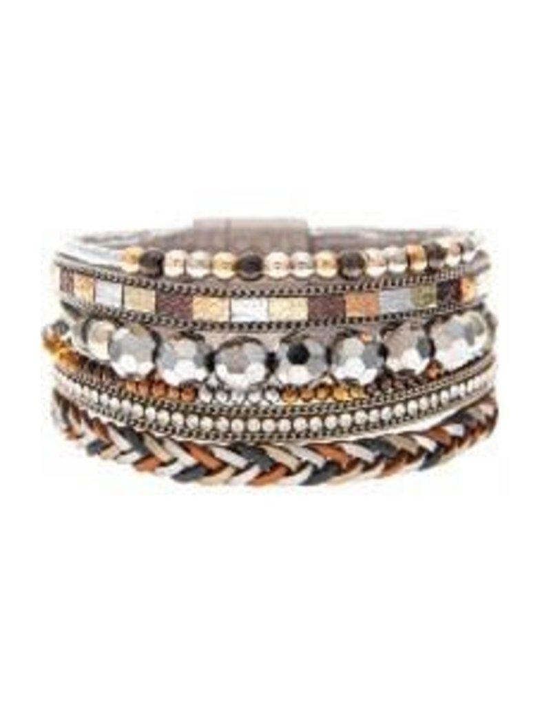 Bead Braid Strip Magnetic Bracelet MB163