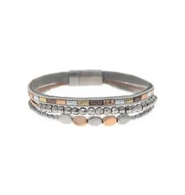 Three Row Beaded Magnetic Bracelet MB186