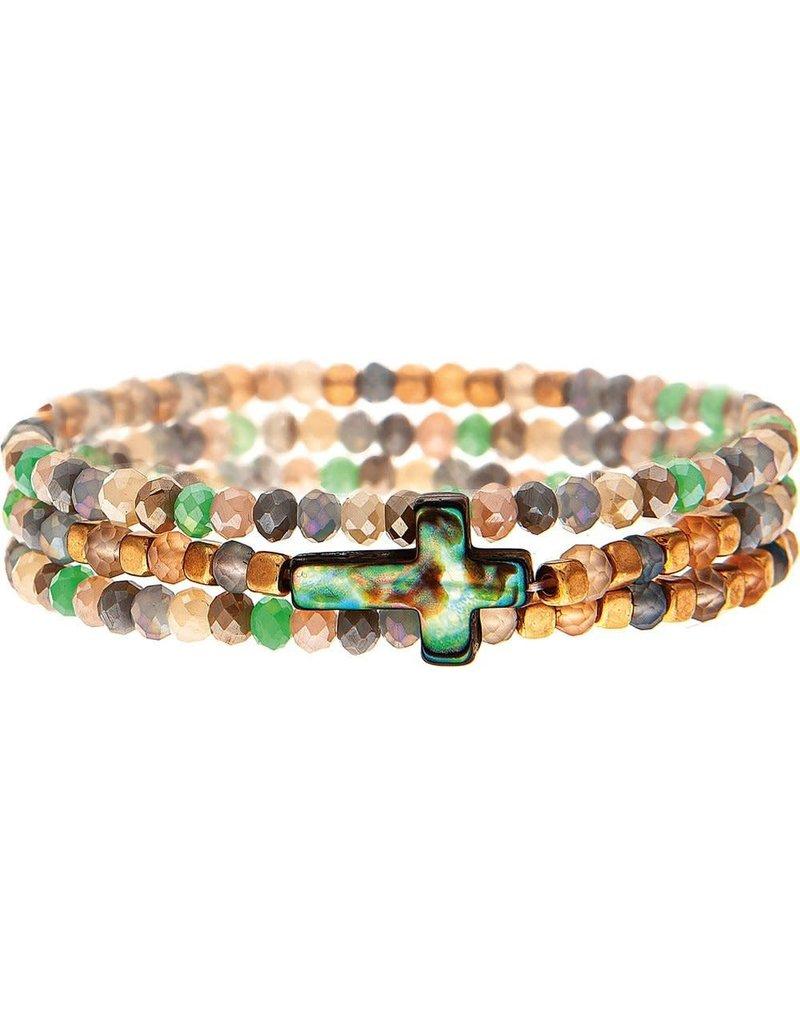 Bead Abalone Cross Bracelet B1813M