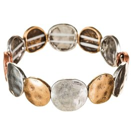 Worn Hammered Metal Bracelet B783M