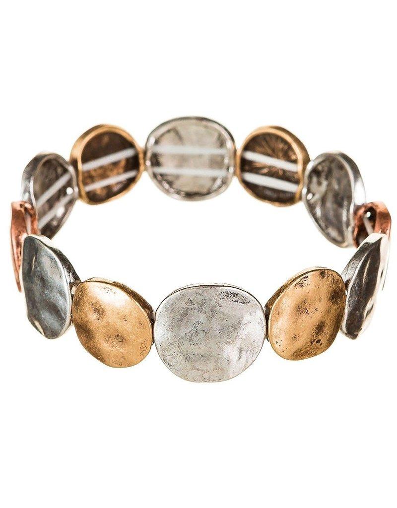 Worn Hammered Metal Bracelet B783M