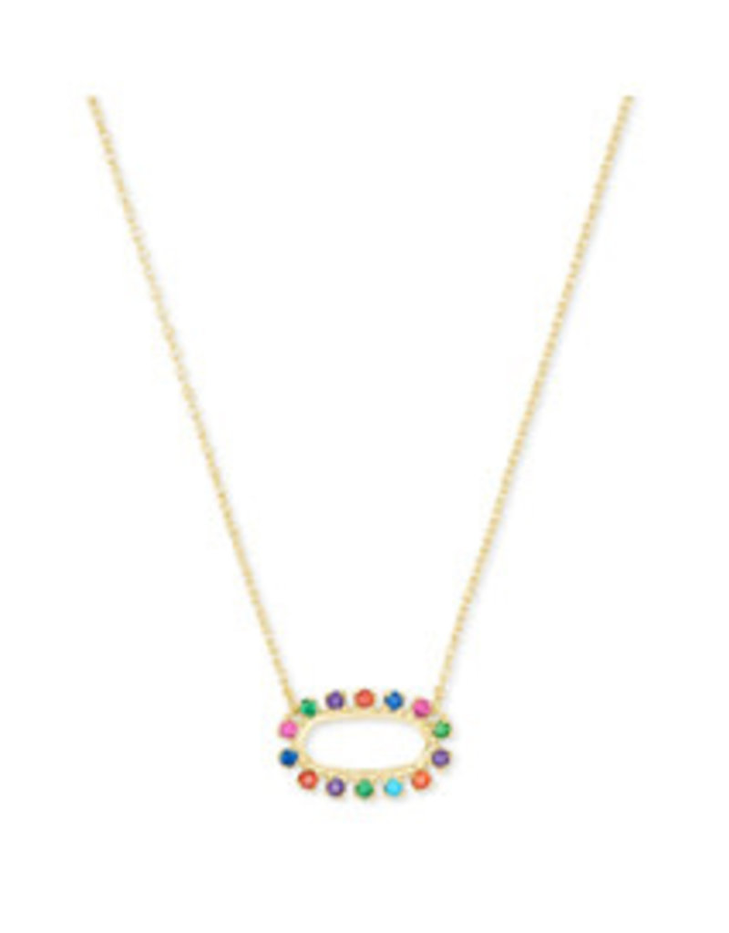 KENDRA SCOTT Elisa open frame necklace gold metal multi cz 4217709675
