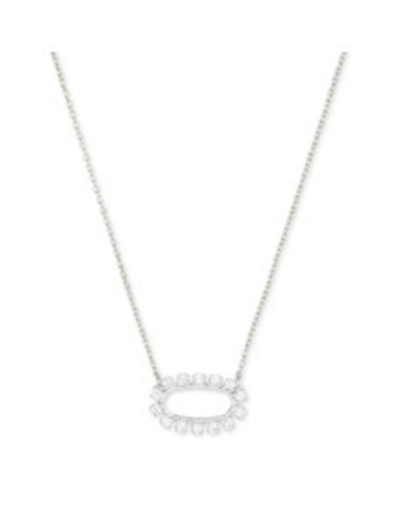 KENDRA SCOTT Elisa open form necklace rhod metal white cz 4217709678