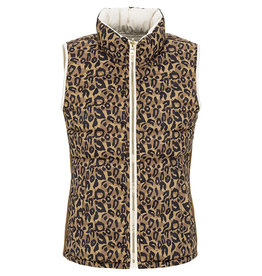 Tribal Leopard & Cream reversible puffer vest