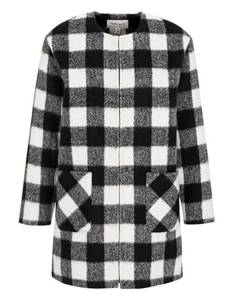Tribal Black plaid duster 67930