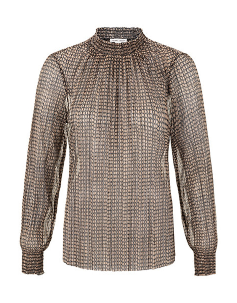 Tribal Copper mock neck blouse with smocking 68460
