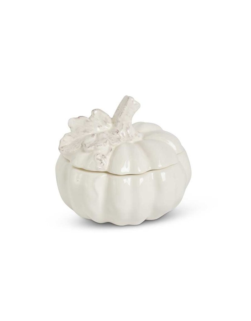 """Lidded White pumpkin container  4.75"""""""