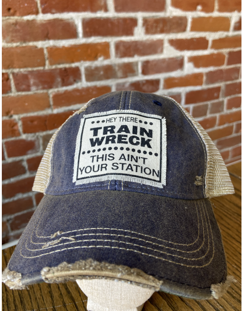 Hey There train wreck navy blue distressed mesh cap