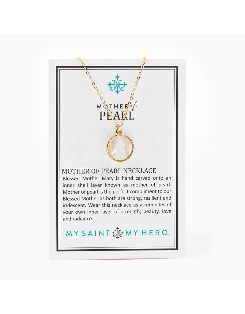 MY SAINT MY HERO Mother of Pearl necklace