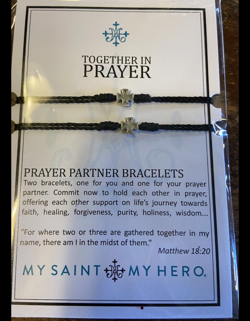MY SAINT MY HERO Together in Prayer prayer partner bracelet black/silver