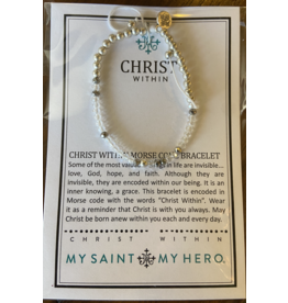 MY SAINT MY HERO Christ within morse code gold bracelet