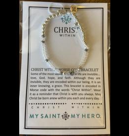 MY SAINT MY HERO Christ within crystal morse code bracelet silver 16045sl