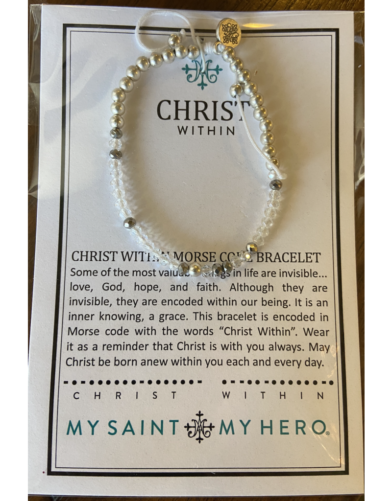 MY SAINT MY HERO Christ within crystal morse code bracelet silver 16045sl