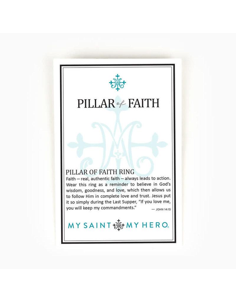 MY SAINT MY HERO Pillar of faith silver ring
