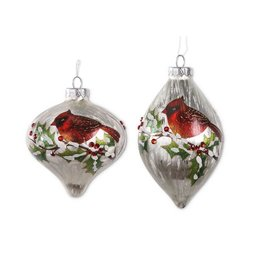 White glass cardinal ornament