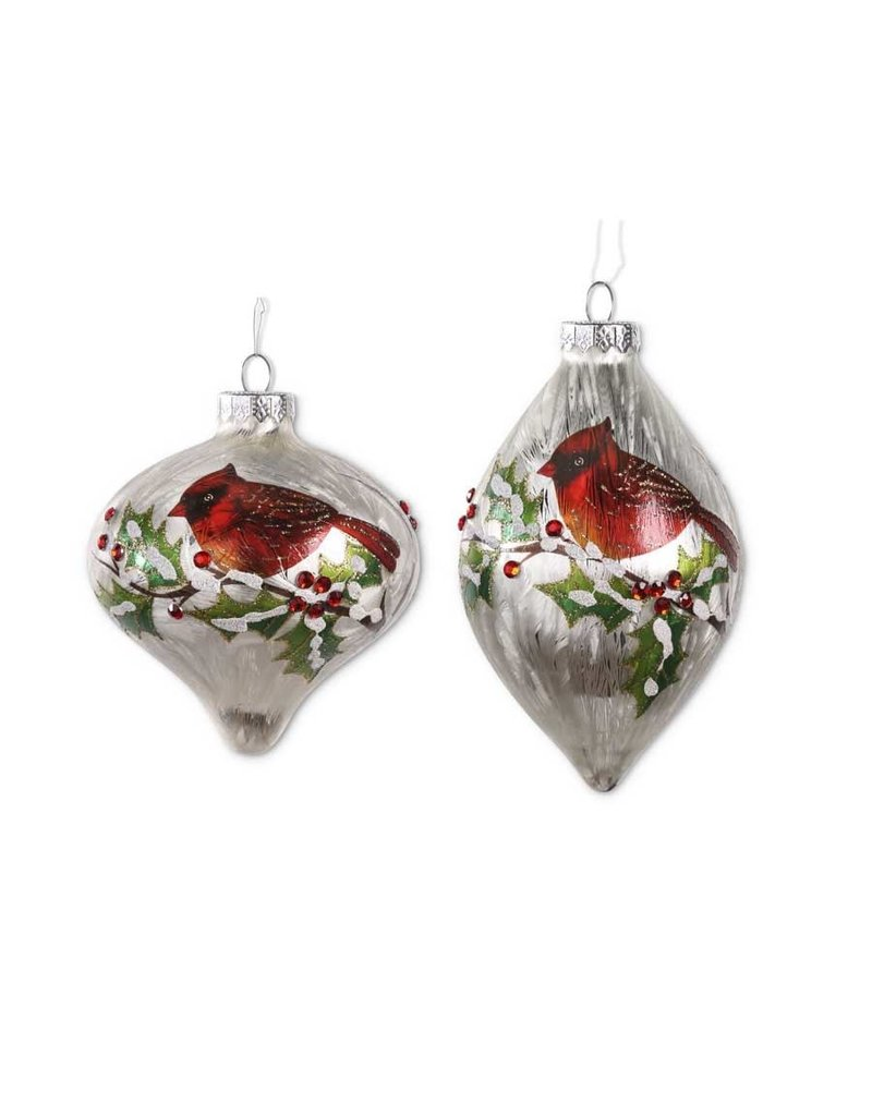 White glass cardinal ornament