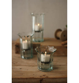Ribbed recycled glass votive