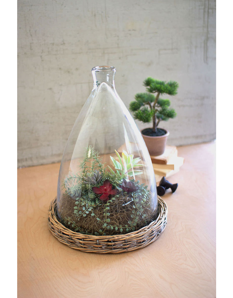 """Cloche with wicker base 17"""" clan1078"""