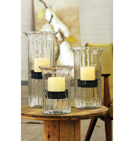 ribbed glass candle holder with rustic insert cv838